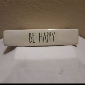 NEW! RAE DUNN BE HAPPY DESK PLAQUE SIGN OFFICE ORG